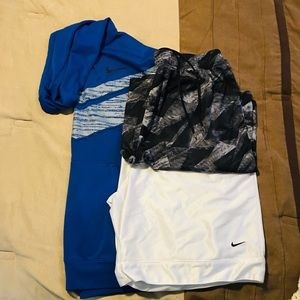 All 3 Nike hoodie & shorts and under armour shorts